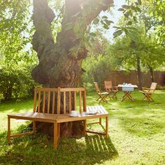 """Want this """"around the tree bench"""" for my yard! (Photographed from a Butlers ad. Somerset, Outdoor Chairs, Outdoor Furniture, Outdoor Decor, Outdoor Ideas, Texas Landscaping, Tree Bench, Growing Peonies, Exterior"""