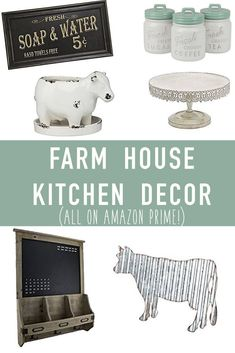 This farmhouse decor is all so cute! I want it all!! Farmhouse Kitchen Decor on Amazon Prime! The best farmhouse kitchen ideas that are a mix of farmhouse modern & rustic. Farmhouse kitchen wall decor, signs, lighting, storage & so much more!!!
