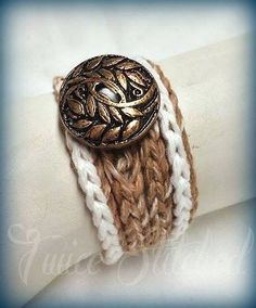 Earth tone 4X wrap bracelet boho hippie cotton by TwiceStitched