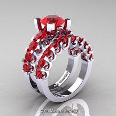 Modern Vintage 14K White Gold 3.0 Ct Rubies Designer Wedding Ring Bridal Set R142S-14KWGR | ArtMastersJewelry