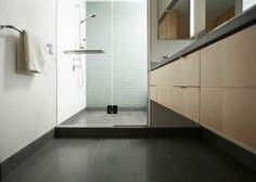 Black ceramic tiles for bathroom flooring ideas Tub Shower Combo, Shower Base, Shower Drain, Shower Enclosure, Shower Floor, Shower Tub, Shower Walls, Shower Curtains, Bathroom Floor Tiles