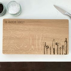 Personalised Kitchen Equipment Chopping Board by Urban Twist, the perfect gift for Explore more unique gifts in our curated marketplace. Oak Chopping Board, Wooden Chopping Boards, Personalised Chopping Board, On The High Street, Kitchen Equipment, Old Wood, Solid Oak, Birthday Gifts, Unique Gifts