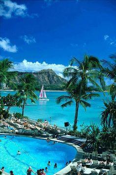 Hilton lagoon with diamond head in the background. Oahu, Hawaii. We stayed at Ilikai and overlooked the lagoon! Sooooo beautiful!