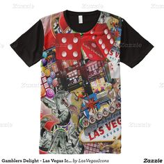Gamblers Delight - Las Vegas Icons Background All-Over Print T-shirt #Gravityx9 #Zazzle #lasvegasicons