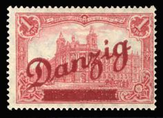 "Danzig 1920 Grosse Innendienst 1m carmine red, plate flaw broken bar through ""z i"" (pos.11), n.h., fine, signed Richter, with 2013 Soecknick certificate (Mi.48var, will be listed in the upcoming Michel as No.48II) (Catalog value €4,000)  Dealer Cherrystone Auction  Auction Estimate price: 700.00 US$"