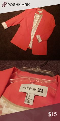 400e0d4658 Forever 21 blazer jacket Forever 21 blazer jacket in a bright orange-y salmon  color