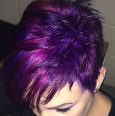 Purple and pink short pixie hair