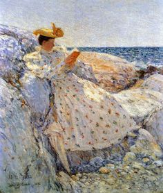 """Summer Sunlight (1892).Frederick Childe Hassam (American, Impressionism, 1859-1935). Oil on canvas.Israel Museum. """"The American Section…has convinced me for ever of the capability of Americans to claim a school. Inness, Whistler, Sargent and plenty of Americans just as well…An artist should paint his own time and treat nature as he feels it, not repeat the same stupidities of his predecessors…The men who have made success today are the men who have got out of the rut."""""""