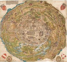 Panoramisch uitzicht over de stad Wenen op het tijdstip van de eerste Turkse belegering, 1529 | Die Welt der Habsburger