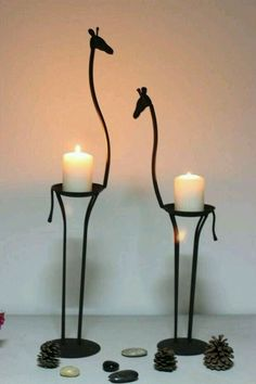 Africa impression, the giraffe, wrought iron candlestick, Wrought Iron Candle Holders, Giraffe Decor, Wrought Iron Decor, Iron Furniture, Iron Art, Candle Stand, Candle Lanterns, Metal Crafts, Candlesticks