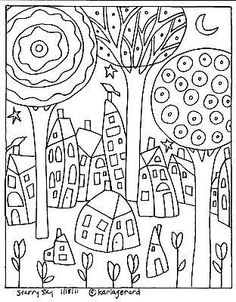 Karla Gerard Patterns by Hetty Van Gurp. A selection of whimsical folk art patterns created by artist, Karla Gerard. Colouring Pages, Adult Coloring Pages, Coloring Sheets, Coloring Books, Kids Coloring, Folk Embroidery, Paper Embroidery, Embroidery Patterns, Needlepoint Patterns