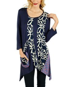 Blue Floral Patchwork Tunic