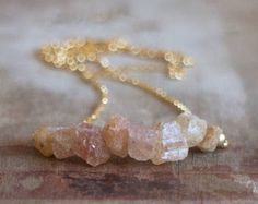 Raw Topaz Necklace in Silver or Gold, November Birthstone, Rough Imperial Topaz Necklace, Golden Topaz Crystal, Topaz Jewelry