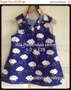 New Year Sale Reversible pinafore dress, cloud dress, Pitter Patter, Clouds, raindrops, Umbrellas, Michael Miller fabric by Islaboohandmade on Etsy