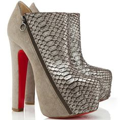 Christian Louboutin 4A Python Suede Platform Ankle Boots Taupe Red Sole Shoes