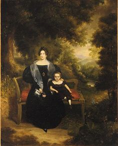 Portrait of a Lady and Child  George W. Twibill Jr.  (1806–1836)  Date: 1833 Medium: Oil on canvas Dimensions: 36 3/8 x 29 3/16 in. (90.2 x 72.4 cm) Classification: Paintings Credit Line: Gift of Susan Spalding Munroe, in memory of Andrew Trowbridge Hall Munroe, 1941-1978, and in honor of his children, Antonio Whitney and Nicoletta Louise, 2002 Accession Number: 2002.508