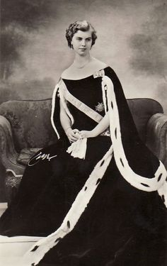 Princess Margareta of Sweden in a traditional swedish court gown. 1950s.