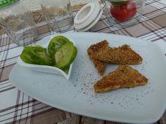 Erna's Liebe: Panierter Schafskäse mit Sesam und Haferflocken