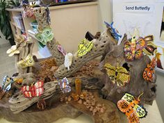Extraordinary butterfly sculptures! Made with some kind of dough or clay and painted. Great project for a butterfly study!