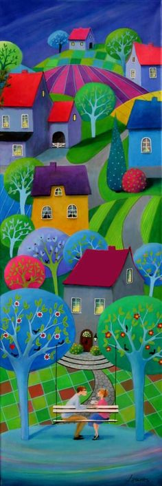 """Coffee with Love II"" acrylic on canvas, 40 x 120 cm... Credit: Iwona Lifsches (Click to Support Artist)"