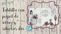 TABLA DE MADERA LISTONADA CON PAPEL DE ARROZ Y SILUETAS DE DM | DECOMAN
