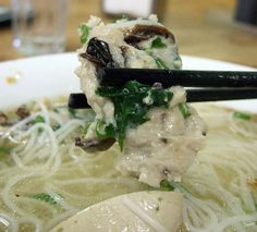 Bún mọc Special pork soup: with our freshly made pork balls, Vietnamese ham, caramelized shallots, with small rice noodle