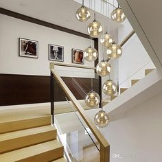 Staircase Pendant Light Penthouse Floor Modern Simpl European Style Villa Rotation In The Building O Crystal Pendant Lighting, Glass Pendant Light, Chandelier Pendant Lights, Entryway Chandelier, Hanging Lamp Design, Style Villa, Wall Hanging Lights, Hall Lighting, Bright Homes