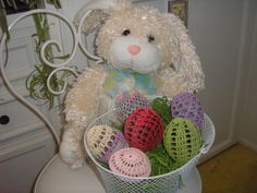 Crocheted Easter Eggs Set 005 by evyslace on Etsy, $21.00