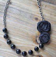 Necklace inspiration:  Black Rosette Flower Necklace
