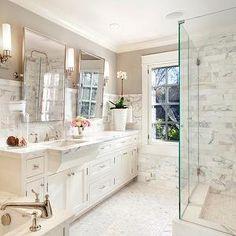 Calacatta Borghini, Traditional, bathroom, Benjamin Moore Revere Pewter, ScavulloDesign Interiors