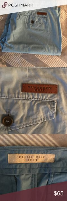 Burberry Brit men's pants Waist 33 Inseam 29 1/2  Bought and maybe worn once. Light blue and perfect condition. Let me know if you have any further questions or need more measurements. Burberry Pants Chinos & Khakis