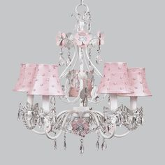 """This Jubilee 5 Arm Chandelier Flower Garden in Pink & White with Pink Pearl Dot Chandelier Shade measures 17"""" w X 19"""" h, 25 watt bulbs.   Return Policy: This item is not eligible for returns or exchanges so please make sure to look over the pictures and ask questions before purchasing."""
