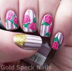 Base Coat: Nail RX - Stuck On You  Base Colour: Beauty UK - Smokey Lilac  Striping Pens: White & Pale Pink  Dark Pink: MUA - Shade 20  Acrylic Paints: Emerald Green, Viridian  Top Coat: China Glaze - No Chip Top Coat