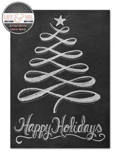 Holiday Chalkboard Card - Christmas Tree Card - Modern Christmas Card - Holiday Chalkboard Art - Digital Christmas Image- Happy Holidays. $19.00, via Etsy.