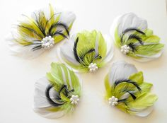 Bridesmaid Bridal Feather Hair Accessory Set by parfaitplumes, $125.00