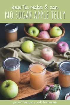 Fall is the time for apples, and if you have an apple tree then that means a lot of apples! This delicious no sugar apple jelly is a great way to preserve that apple flavor through the rest of fall and winter. #applerecipe #applejelly #canning #foodpreservation #preserving #homecanning #canningrecipes #recipe Canning Apples, Canning Jar Labels, Canning Vegetables, Canning Recipes, Fresh Vegetables, Apple Jelly, Apple Jam, Jelly Recipes, New Recipes