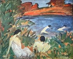 1921~1922 LAKE WITH BATHERS: SUMMER Otto Müeller (Germany-Polish; Lubawka, Poland 1874~1930 Wrocław, Poland)