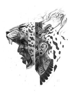 """Eduardo Flores, a Mexican artist that goes by the moniker """"Bayo,"""" crafts pencil drawings that are both vivid and mythological in content. These intricate pieces are filled with both symbolism and c… Jaguar Tattoo, Aztec Warrior Tattoo, Warrior Tattoos, Pencil Drawings, Art Drawings, Drawing Faces, Mayan Tattoos, Polynesian Tattoos, Tattoo Collection"""