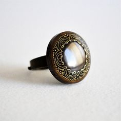 Vintage button ring di RiciclAr su Etsy #handmade #ecodesign #vintage #button #ring