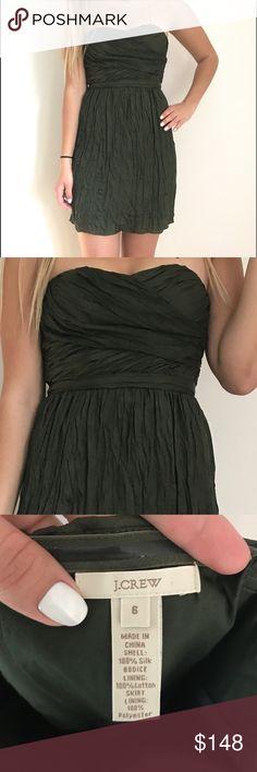 Silk J. Crew Cocktail Dress *NEVER WORN* • Olive green • Strapless • Center-back zipper closure J. Crew Dresses Mini