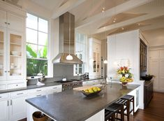 Contemporary Kitchen with Long White Island and the Grey Cheap Quartz Countertops near some White Cabinets Grey Granite Countertops, Granite Kitchen, White Kitchen Cabinets, Kitchen Countertops, New Kitchen, Gray Granite, Glass Cabinets, Kitchen Windows, Kitchen Grey