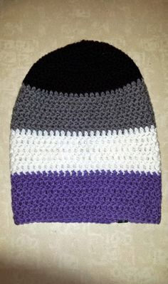ASEXUAL PRIDE Flag Crochet Slouch Beanie by MindGlitchStudio