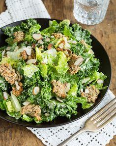 Vegan, gluten-free, anti-candida Caesar Salad with gluten-free, dairy-free, grain-free, egg-free croutons