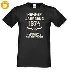 Zum 43. Geburtstag - Fun-T-Shirt Mega Cooles Männer-Oberteil als Geschenk mit Gratis Urkunde Hammer Jahrgang 1974 Farbe: schwarz Gr: 3XL - T-Shirts mit Spruch | Lustige und coole T-Shirts | Funny T-Shirts (*Partner-Link)