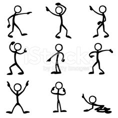 Stick Figure People Pointing royalty-free stock vector art
