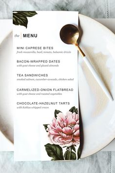 FREE printable dinner party menu...perfect for a bridal shower, baby shower, or girly brunch!