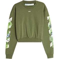Off-White Fern Printed Hoody (£400) ❤ liked on Polyvore featuring tops, hoodies, green, sleeve top, hooded sweatshirt, off white top, green hoodie and boxy tops