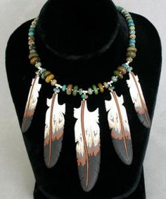Cloud aqua terra, silver and bison bone feather necklace by Lonny Cloud (Lumbee)