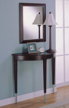 You Re Want To Contemporary Cherry Finish Entry Way Console Table Mirror Lamp Set Yes