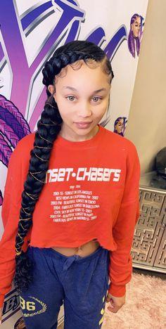 2 Feed In Braids, Two Braids With Weave, Braids For Kids, Girls Braids, Two Cornrow Braids, Box Braids, Cornrows, Weave Hairstyles, Pretty Hairstyles